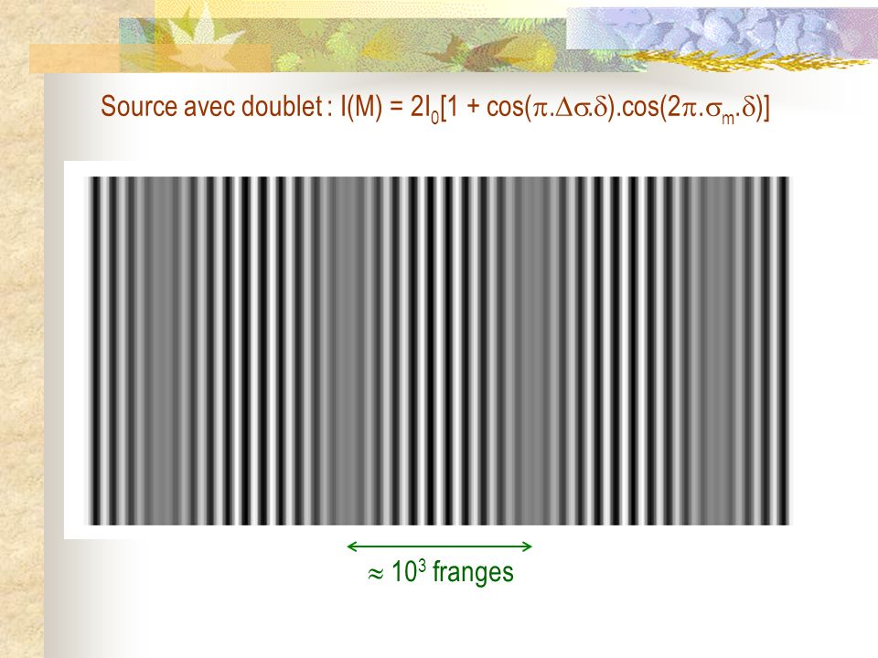 Source avec doublet : I(M) = 2I0[1 + cos(..).cos(2.m.)]